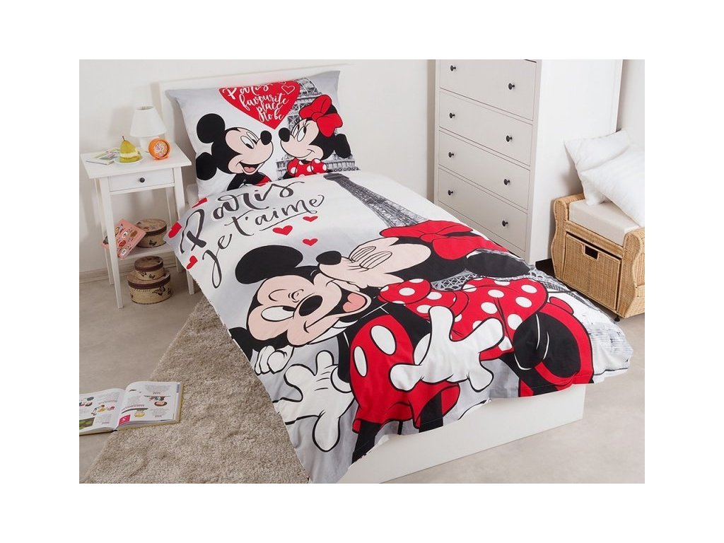 Dětské bavlněné licenční povlečení Mickey a Minnie v Paříži 140x200