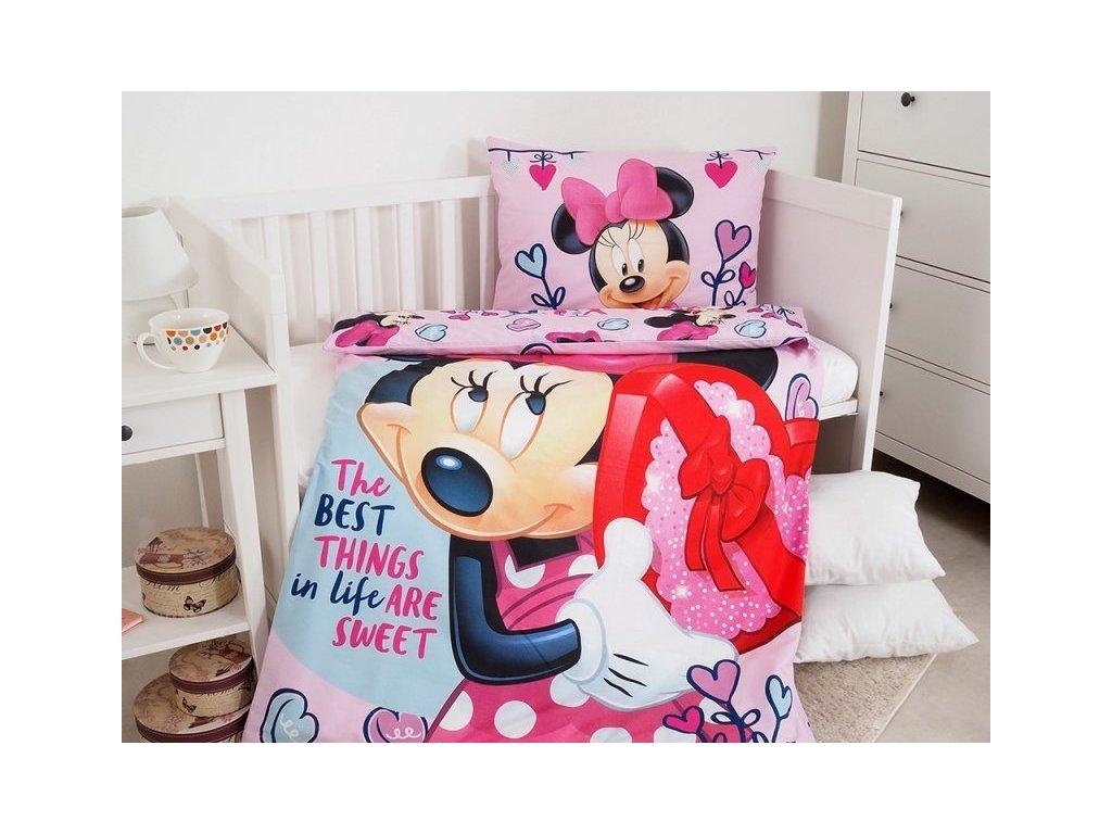 Povlečení Dětské licenční Minnie pink baby 100x135+40x60 cm
