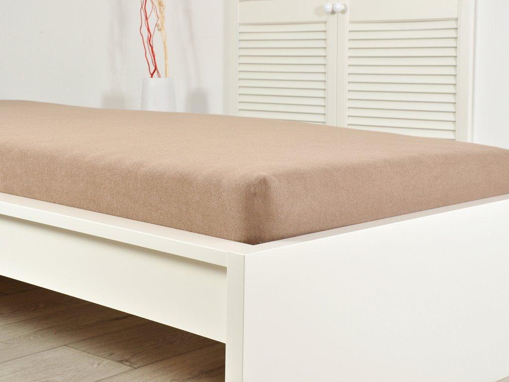 Jersey elastické prostěradlo 140x200 s gumou světle hnědá (170g/m2)