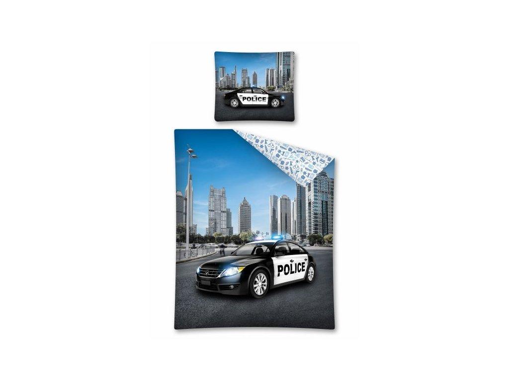 Bavlněné dětské povlečení s kvalitním 3D fototiskem Policejní auto 140x200