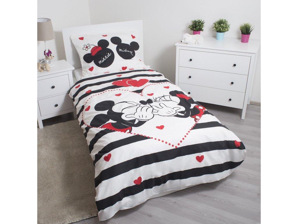 Bavlněné povlečení 140x200 + 70x90 cm - Mickey a Minnie Stripes