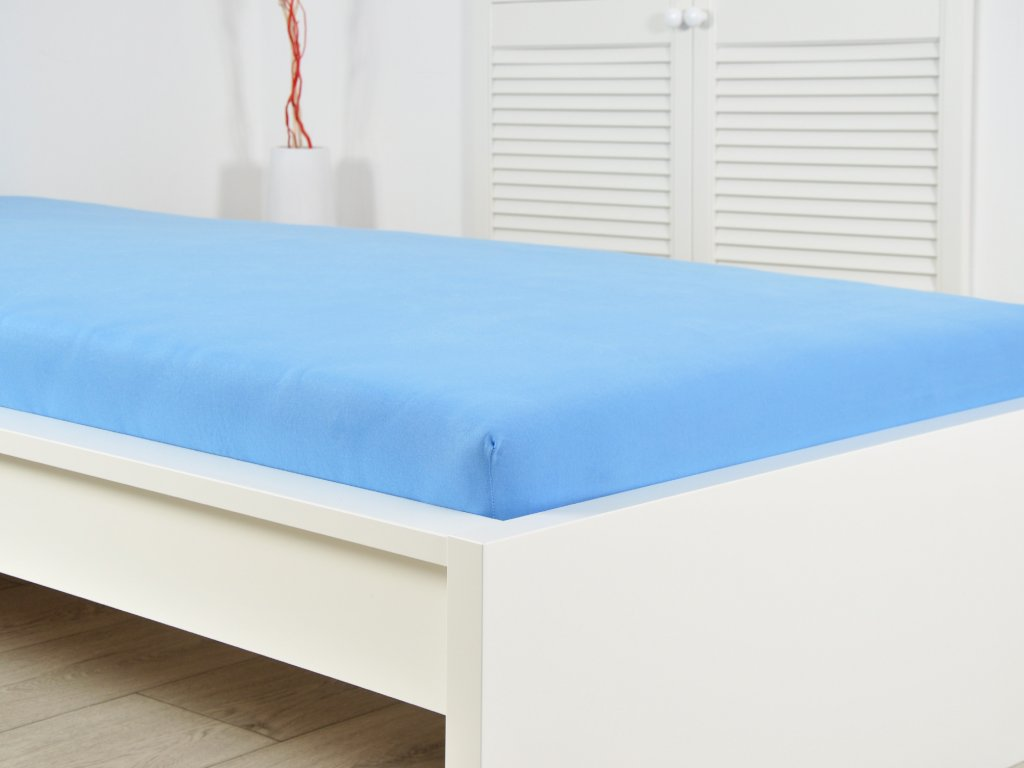 Jersey elastické prostěradlo 140x200 s gumou - nebeská modrá (170g/m2)