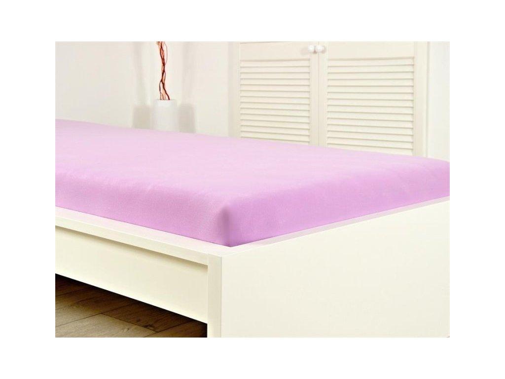 Jersey elastické prostěradlo 160x200 s gumou světle fialová