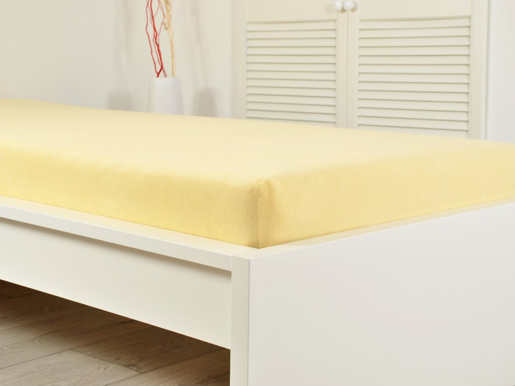 Froté prostěradlo 90x200cm světle žlutá (160g/m2)