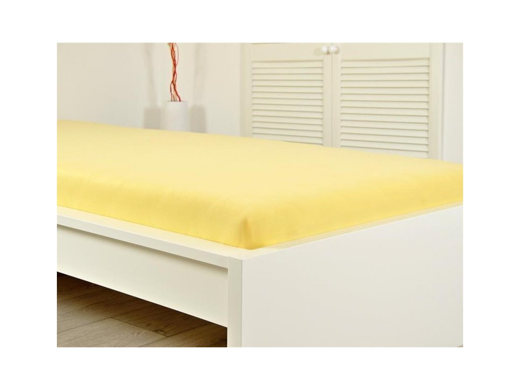 Prostěradlo Jersey bavlna IDEAL 90x200 cm – Žlutá