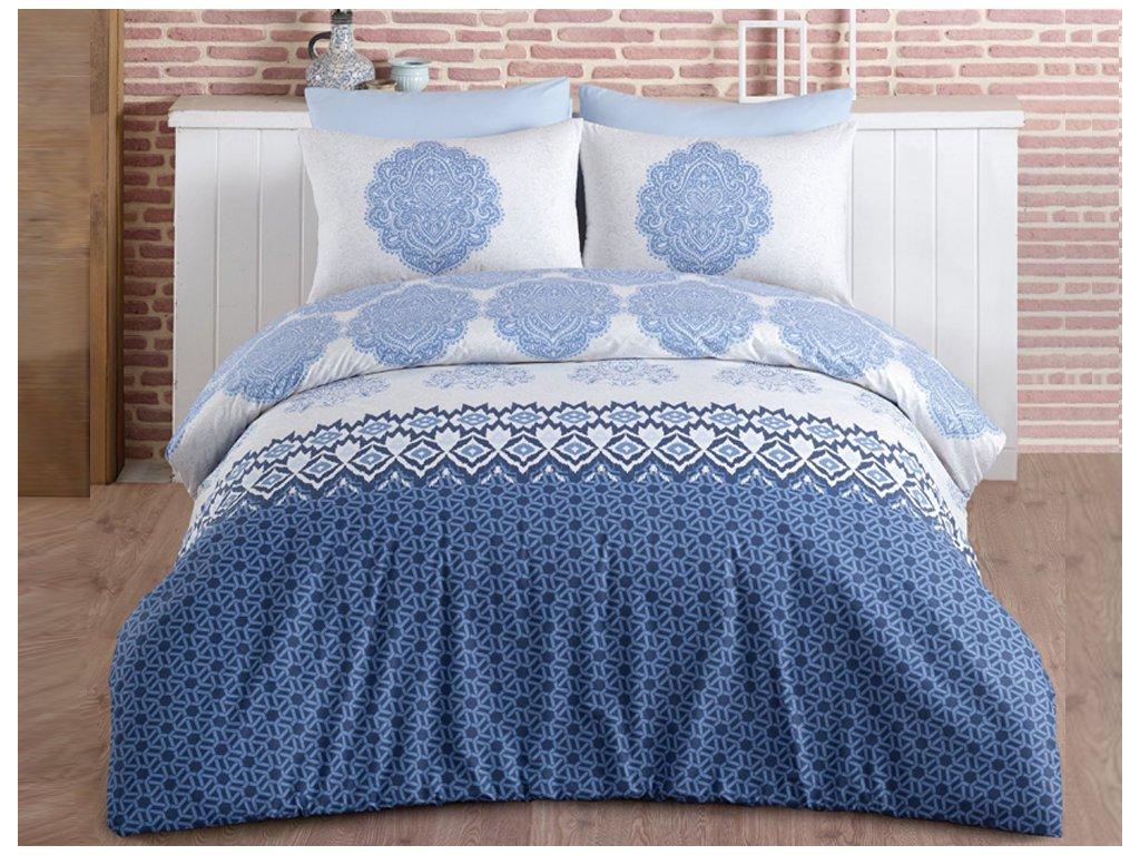 Bavlněné povlečení 140x200 + 70x90 cm - Trevi modré