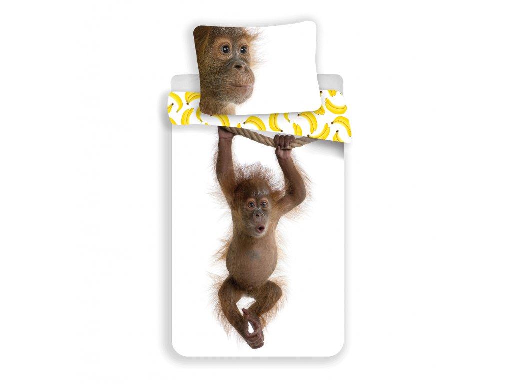 Bavlněné povlečení 3D fototisk se zipem 140x200 - Orangután