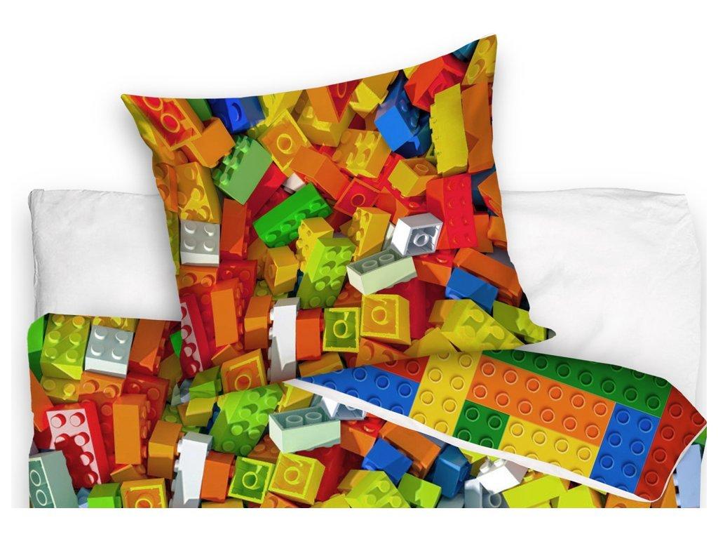Dětské bavlněné povlečení LEGO Kostky 140x200