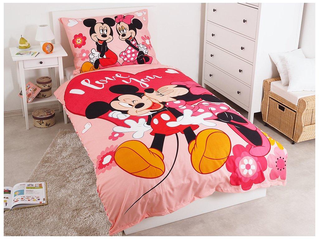 Dětské jemné povlečení se zipem z mikrovlákna 140x200 - Mickey a Minnie Kiss