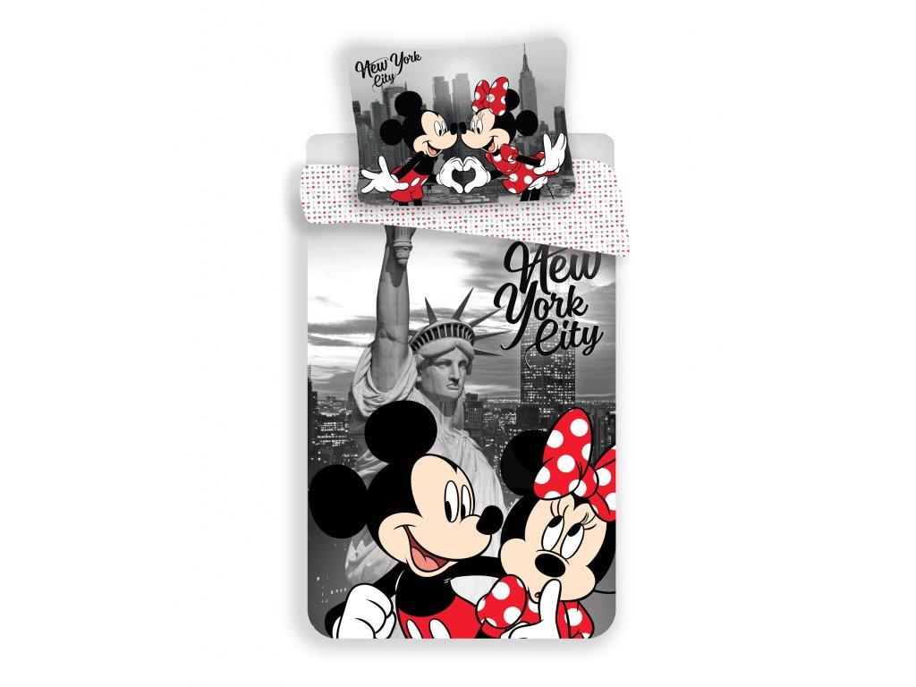 Dětské jemné povlečení se zipem z mikrovlákna 140x200 - Mickey a Minnie in New York