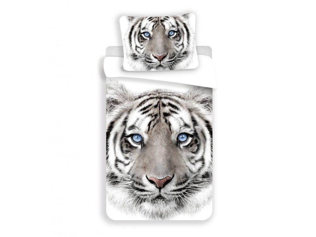 8561 bavlnene povleceni 3d fototisk se zipem white tyger 140x200