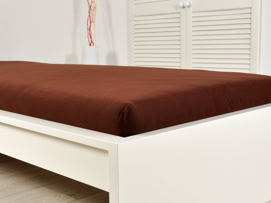 Jersey elastické prostěradlo s gumou tmavě hnědá 140x200 (170g/m2)