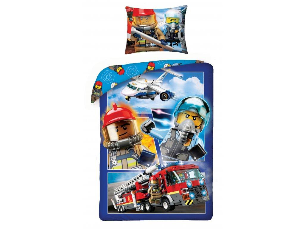Dětské licenční bavlněné povlečení 140x200 + 70x90 - Lego City - hasičský vůz