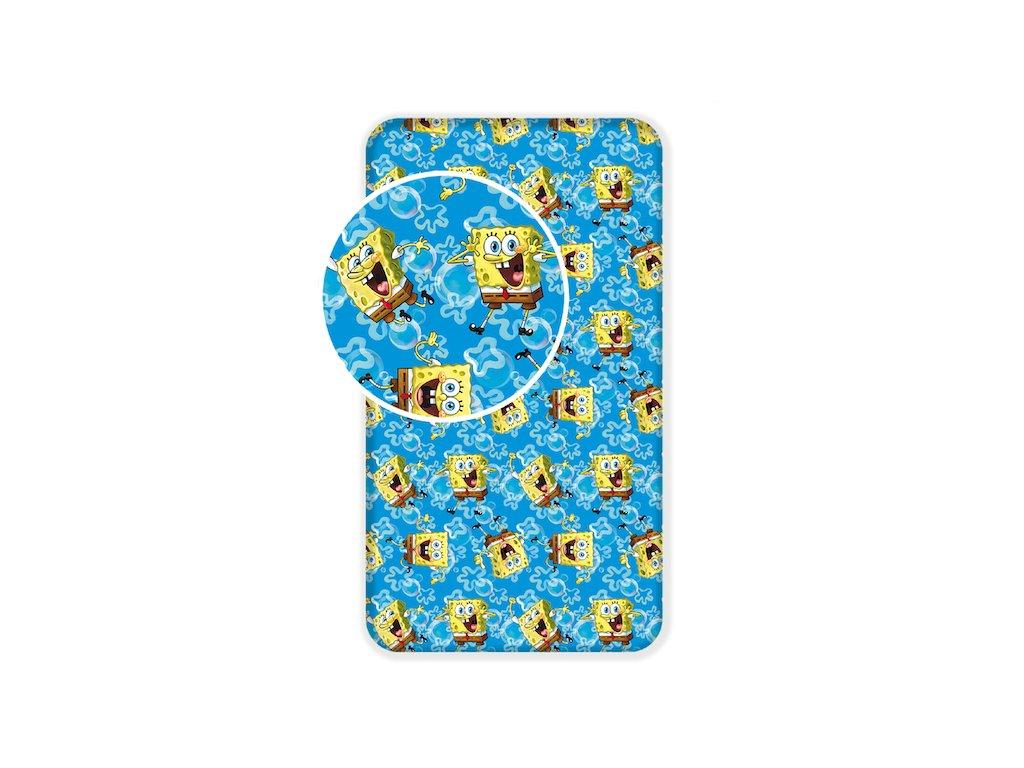 9239 detske licencni prosteradlo z bavlny sponge bob blue 90x200 cm