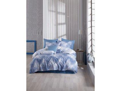 Bavlněné povlečení -  Bavlněné ložní francouzské povlečení 220x200+70x90(2x) - Havai Modré