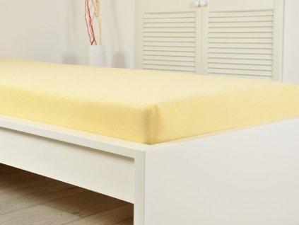 Froté elastické prostěradlo 160x200 světle žlutá (190g/m2)