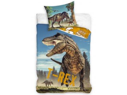 3D fototisk -  Bavlněné povlečení 140x200 + 70x90 cm - Tyranosaurus Rex
