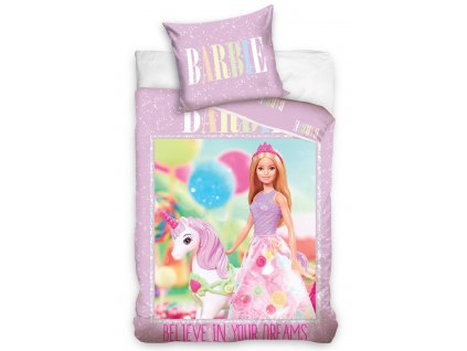 3D fototisk -  Bavlněné povlečení 140x200 + 70x90 cm - Barbie a jednorožec
