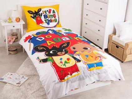 Zip -  Dětské licenční bavlněné povlečení 140x200+70x90 - Zajíček Bing a Sula Malíři