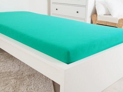 140 g_m2 -  Jersey ATYP elastické prostěradlo 150x200 s gumou - tmavě zelená