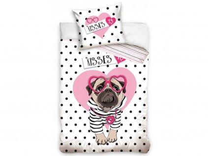 140 x 200 cm - BedTex bavlna povlečení pes Mops motiv Polibek za dolar bavlna 70x90 140x200