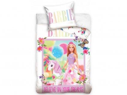 Zip -  Povlečení do postýlky 100x135 + 40x60 cm - Barbie a jednorožec