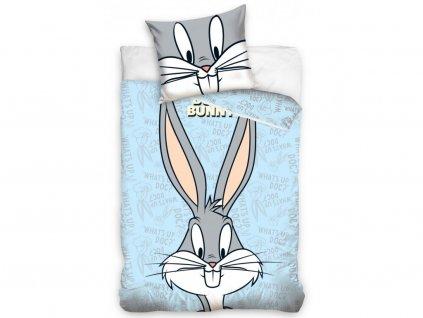 Zip -  Povlečení do postýlky 100x135 + 40x60 cm - Králíček Bugs Bunny modré