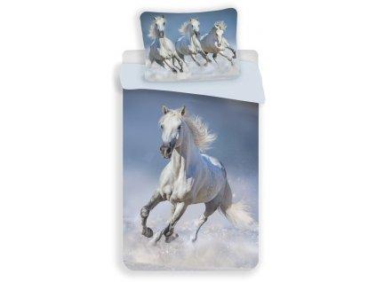 Bavlněné povlečení 140x200 + 70x90 cm - Kůň bělouš