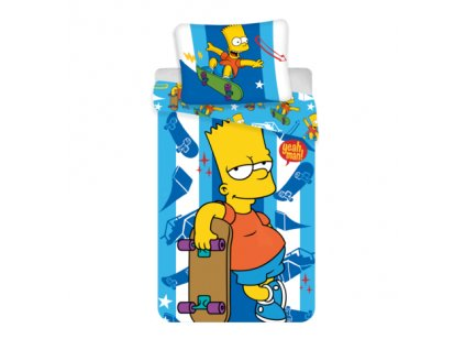 3D fototisk -  Bavlněné povlečení 140x200 + 70x90 cm - The Simpsons Bart Skater