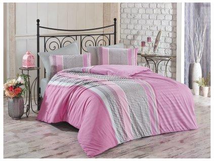 140 x 200 cm -  Bavlněné povlečení 140x200 + 70x90 cm - Pelin růžové