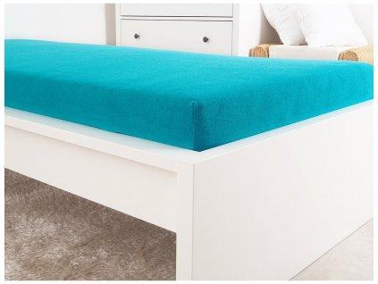Froté prostěradla -  Prostěradlo Froté PERFECT 140-160x200 cm - Modrý tyrkys