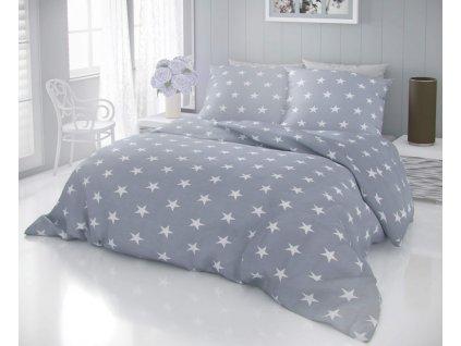 Bavlněné povlečení -  Bavlněné povlečení DELUX STARS 140x200 + 70x90 cm - šedá