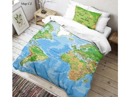 Kvalitex -  Bavlněné povlečení 3D fototisk 140x200 + 70x90 cm - Mapa světa