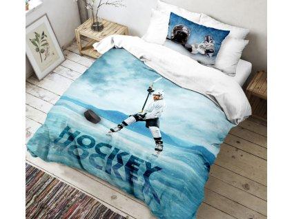 Kvalitex -  Bavlněné povlečení 3D fototisk 140x200 + 70x90 cm - Hokej