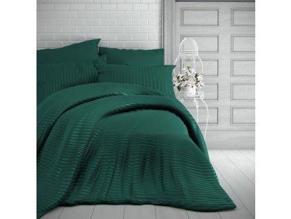 Kvalitex -  Saténové povlečení s proužkem 140x200 + 70x90 cm - tmavě zelené