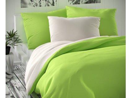 Kvalitex -  Saténové francouzské povlečení LUXURY COLLECTION 200x200 + 2x 70x90 cm - bílé / světle zelené