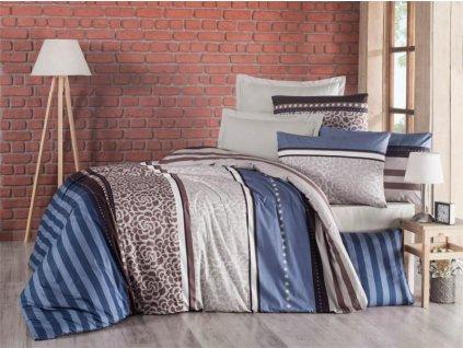 200 x 200 cm -  Francouzské krepové povlečení 200x200 + 2x 70x90 cm - Stripes modré