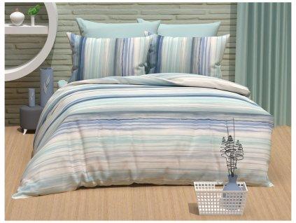 TipTrade -  Bavlněné povlečení 220x200 + 2x 70x90 cm - Gradient modré