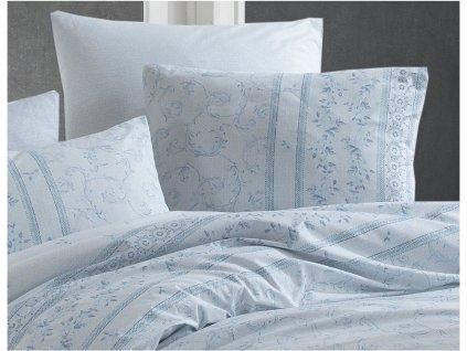 Bavlněné povlečení -  Bavlněné povlečení 140x220 + 70x90 cm - Ivy modré - prodloužené