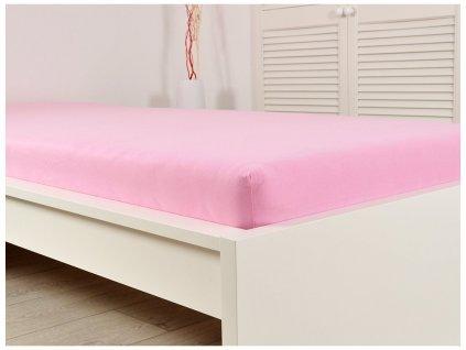90 x 200 cm -  Prostěradlo Jersey bavlna IDEAL 90x200 cm - Růžová
