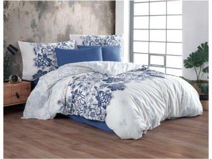 Zip -  Bavlněné povlečení 140x200 + 70x90 cm - Armina modré