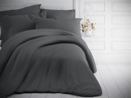 Kvalitex -  Jednobarevné bavlněné povlečení 140x200 + 70x90cm - Tmavě šedé