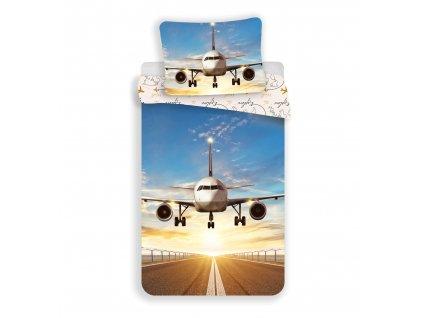 """140 x 200 cm -  Bavlněné povlečení 140x200 + 70x90 cm - Letadlo """"Explore The World"""""""