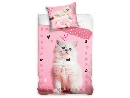 Bavlněné povlečení o rozměrech 140x200 + 70x90 cm - Kočička princezna