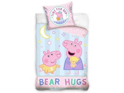 Dětské povlečení - Povlečení do postýlky 100x135 + 40x60 cm - Prasátko Peppa Dneska spíme s medvídkem