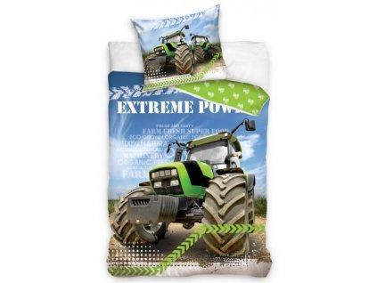 Dětské povlečení -  Bavlněné povlečení 140x200 + 70x90 cm - Zelený traktor