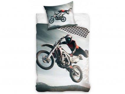 Dětské povlečení -  Bavlněné povlečení 140x200 + 70x90 cm - Freestyle Motocross