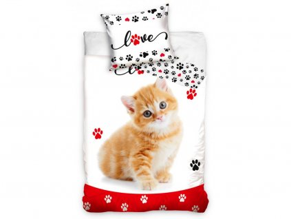 Bavlněné povlečení -  Bavlněné povlečení o rozměrech 140x200 + 70x90 cm - Zamilovaná Kočička