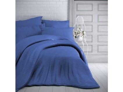 Kvalitex -  Saténové povlečení s proužkem 140x200 + 70x90 cm - Modré