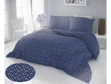 Kvalitex -  Bavlněné povlečení DELUX 140x200 + 70x90 cm - Hvězdy modré